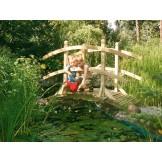 Mostek z poręczami z 2 łuków z drewna klejonego