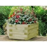 Donica drewniana do kwiatów sześciokąt